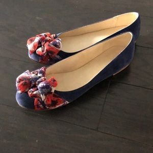 Purple suede flats with ribbon detail